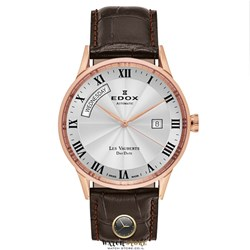 83007-37R-AR. Edox, Les Vauberts Day Date Automatic, Men's Watch, Stainless Steel Rose Gold PVD